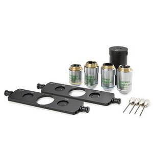 Euromex AE.3186, phase contrast kit; 10x/20x/40x/S100x oil plan objectives, 2 sliders phase contrast rings (Oxion)